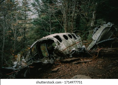 Eerie Plane Crash in the Mountains of North Carolina, Admist a Moody Autumn Forest