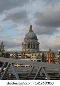 Eerie shot of St Paul's Cathedral London with grey, overcast clouds
