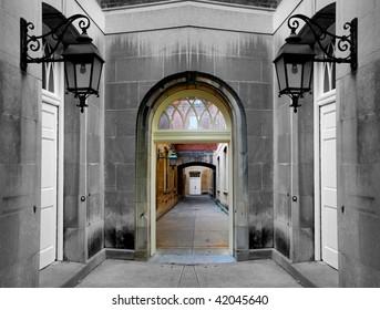 Eerie Stone Hallway
