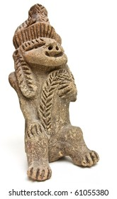 Eerie and ugly Mayan Statue isolated on white background.