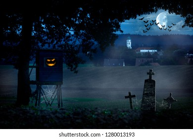 Eerie village landscape with monsters in the hunter, tombs, moon and bats