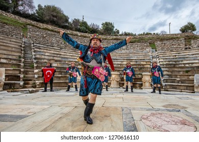Efe is brave, warrior and insurgent,manly and dancer person in Western Turkish culture. At Torbali Ozbey village festival. Efem association EFE while dancing. Izmir Torbali Turkey January 16 2016