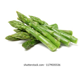 Effective Boiled asparagus on white background