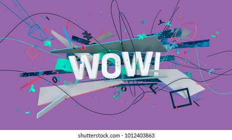 Effective social media greeting card with WOW word, high resolution 3D render