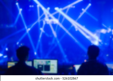 Effects blur Concert control lighting  disco dj party New year.