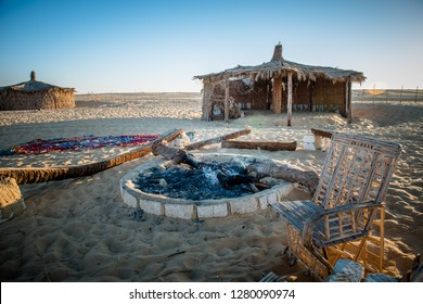 Effects of a camping camp, desert of Siwa Oasis, New Valley, Egypt