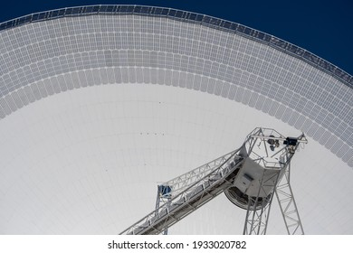 Effelsberg, Germany  7 March 2021,   The close-up view of the radio telescope in Effelsberg