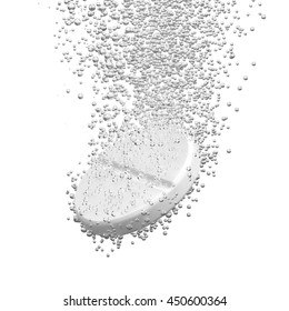 Effervescent medicine. Fizzy tablet dissolving. White round pill falling in water with bubbles. White background. 3D illustration