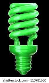 efficiency and eco friendly technology: green light bulb on black