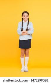 Efficiency of studying. Adorable schoolgirl. Diligent schoolgirl. Schoolgirl happy smiling pupil long hair. Beginning of academic year. Educational activity. Homeschooling or visiting regular school.