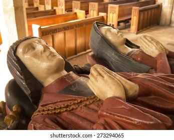 effigies of William and Anne Boden, on their memorial,at All Saints Church, Ashover village, derbyshire,UK . taken 22/03/2015