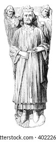 Effigy of King John, placed on his tomb in the Cathedral of Worcester, vintage engraved illustration. Colorful History of England, 1837.