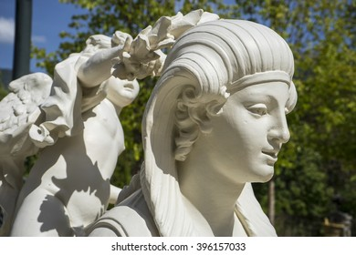 effigy, white marble sculptures in the gardens of Segovia, Spain. beautiful figures of classical gods, mythology