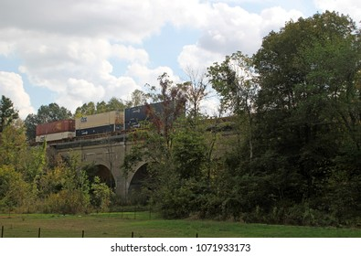 EFFINGHAM, IL - OCTOBER 10: Train Crossing over Bridge Scenic Rural Illinois 2013