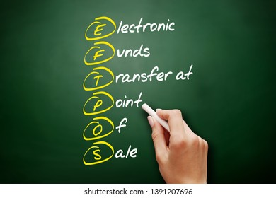 EFTPOS - Electronic Funds Transfer at Point of Sale acronym, business concept on blackboard