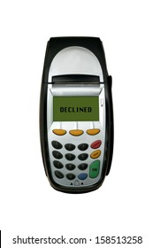 A eftpos machine on a plain background