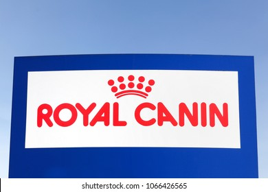 Ega, Denmark - April 2, 2018: Royal Canin logo on a panel. Royal Canin manufactures and supplies dog and cat feed worldwide