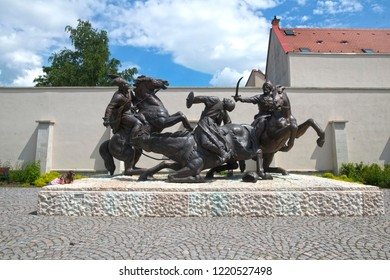 EGER, HUNGARY. 05-16-2017. The dramatic Memorial in the city center of Eger visualise the Battle of Mohács when the Turkish Empire invaded Hungary in 1533