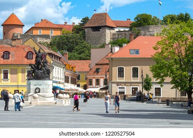 EGER, HUNGARY. 05-16-2017. The town of Eger in Hungary, dominated by a strong fortress, beautifully presents its  eventful history