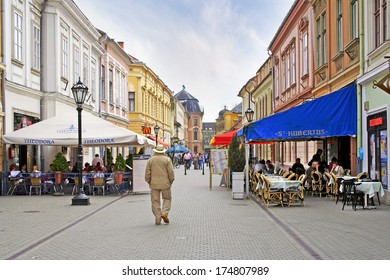 EGER, HUNGARY - APRIL 12: Streets of the historic center of the ancient city of Eger on April 12, 2009. Eger is the second largest city in Northern Hungary.