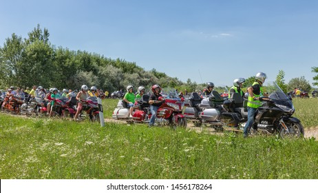 Eger, Hungary - July 04, 2019: Motor bikers at Honda Goldwing ready for a drive through Hungary between Budapest and Eger