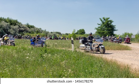 Eger, Hungary - July 04, 2019: Motor bikers at Honda Goldwing start for a drive through Hungary between Budapest and Eger