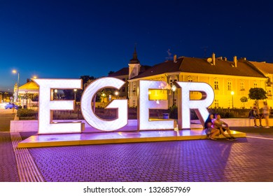 Eger, Hungary - July 18, 2018 - Historic city of Eger at night