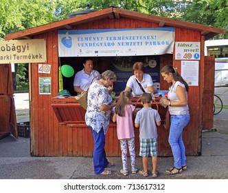 EGER, HUNGARY - JULY 2, 2017: wooden tent on annual folk festival in Eger, Hungary