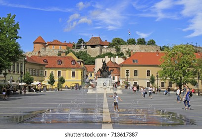 EGER, HUNGARY - JULY 2, 2017: Dobo square is the main square of Eger, Hungary