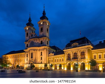 EGER, HUNGARY - JULY 7, 2018: Istvan Dobo square in Eger, Hungary. Main catholic cathedral in early morning in Eger. Ancient hungarian city.