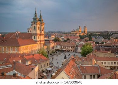 EGER, HUNGARY - JULY 7, 2018: Istvan Dobo square in Eger, Hungary. Main catholic cathedral in early evening in Eger. Ancient hungarian city.