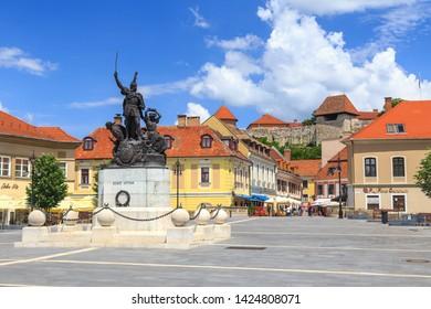 EGER, HUNGARY. JUNE 2019: Istvan Dobo Ter, main square in old town of city