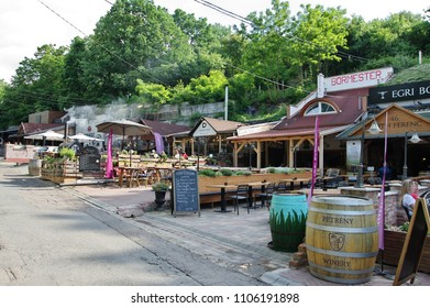 Eger, Hungary – May 18, 2018: a small town famous for its wine production and thermal springs. Valley of the Beautiful Lady. Numerous wine cellars and pubs are located along the valley.