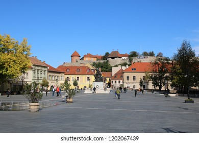 Eger, Hungary – October 6, 2017: a small town famous for its wine production and thermal springs. Dobo Istvan Square. In the background you can see the Castle of Eger.