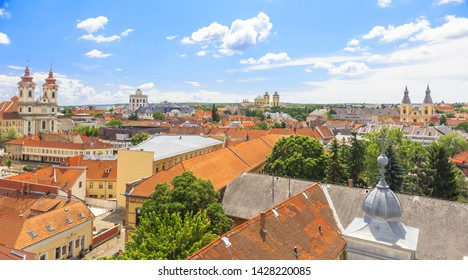 Eger, Hungary. View from minaret platform towards old town and Istvan Dobo ter with Minorite Church and Cathedral Basilica in background