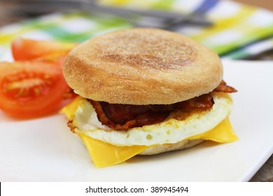 Egg and bacon muffin with tomatoes on the side on white plate