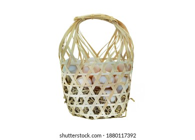 egg in bamboo basket with white background