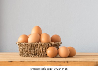 Egg in a basket on wooden table ,Chicken Egg