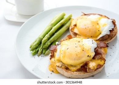 egg benedict, on the white dish,isolated background
