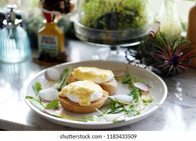 Egg Benedict - Poached egg on toasted English muffin with fresh hollandaise sauce, Delicious homemade breakfast.