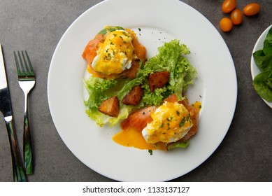 egg  benedictwith salmon and poached egg