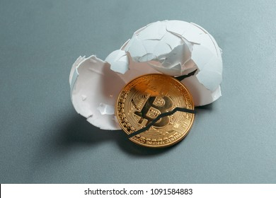 Egg with bitcoin. Coin bitcoin is broken in half. The fall and collapse of the course of the crypto currency, the ban on trade.