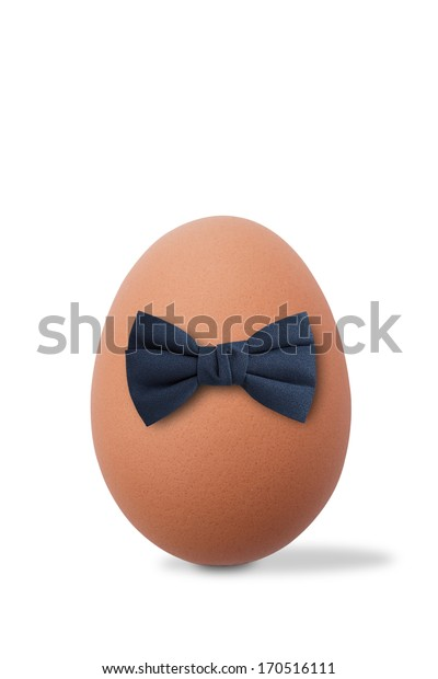 an egg in a bow tie on white