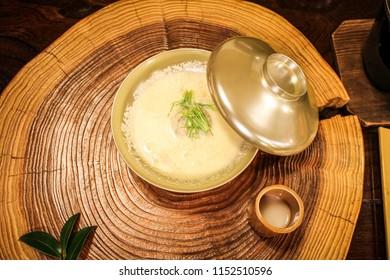 Egg custard bowl in Kaiseki set, Kyushu, Japan
