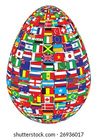 egg with flags pattern raster image of vector