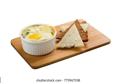 Egg in Florentine style on a white background