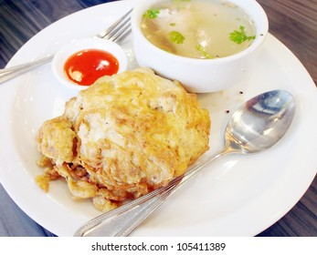 Egg fried rice and soup