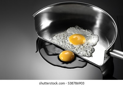 egg in frying with induction stove