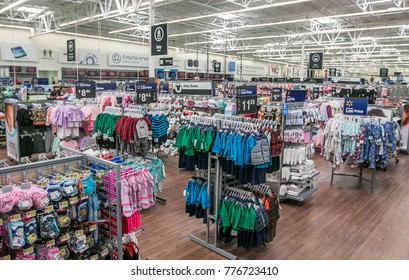 Egg Harbor Township, NJ, December 10, 2017: Overview of the interior of a Walmart store's kids clothing section.
