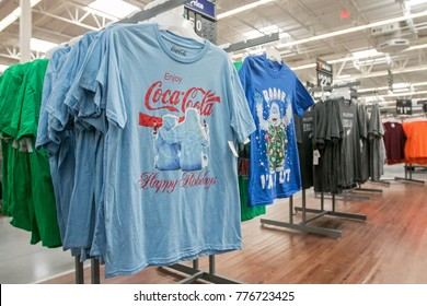 Egg Harbor Township, NJ, December 10, 2017: Coca-Cola t-shirts are offered for sale in Walmart.